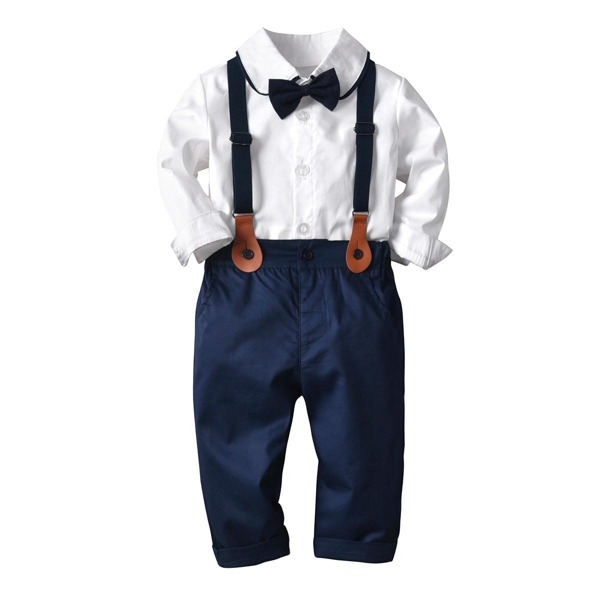 Primavera otoño recién nacido trajes de bebé niño Blazers caballero británico Blusa de manga larga monos Bowtie niños traje Formal