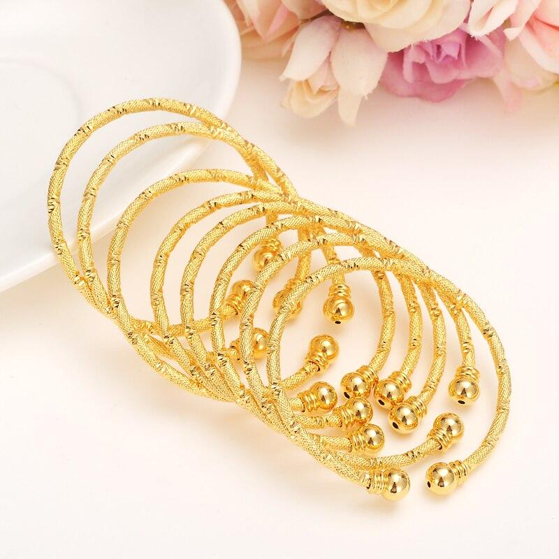 Pequeño brazalete de oro de 24k de Dubai, brazalete árabe de joyería, abalorio de oro para niñas, tobillera India, pulsera, joyería para niños, regalo de cumpleaños