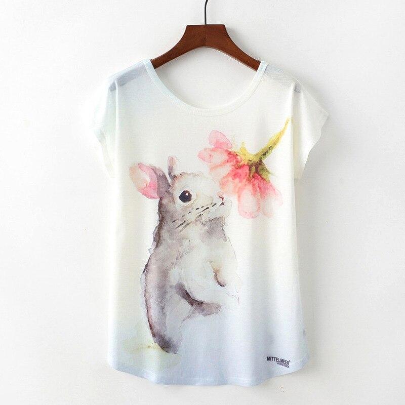 Novedad de verano, camiseta para mujer, Harajuku Kawaii, estilo lindo, Camiseta con estampado de flores y ratones, nuevas camisetas de manga corta, camiseta, ropa para mujer