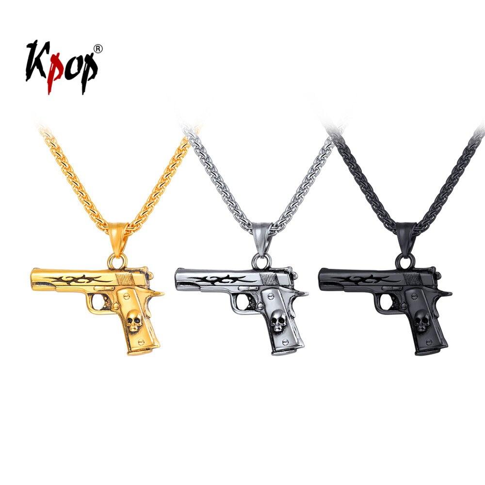 Kpop dije para collar de arma joyería rock punk Acero inoxidable dorado/Negro Color M9 pistola calavera Collar para hombres P3248