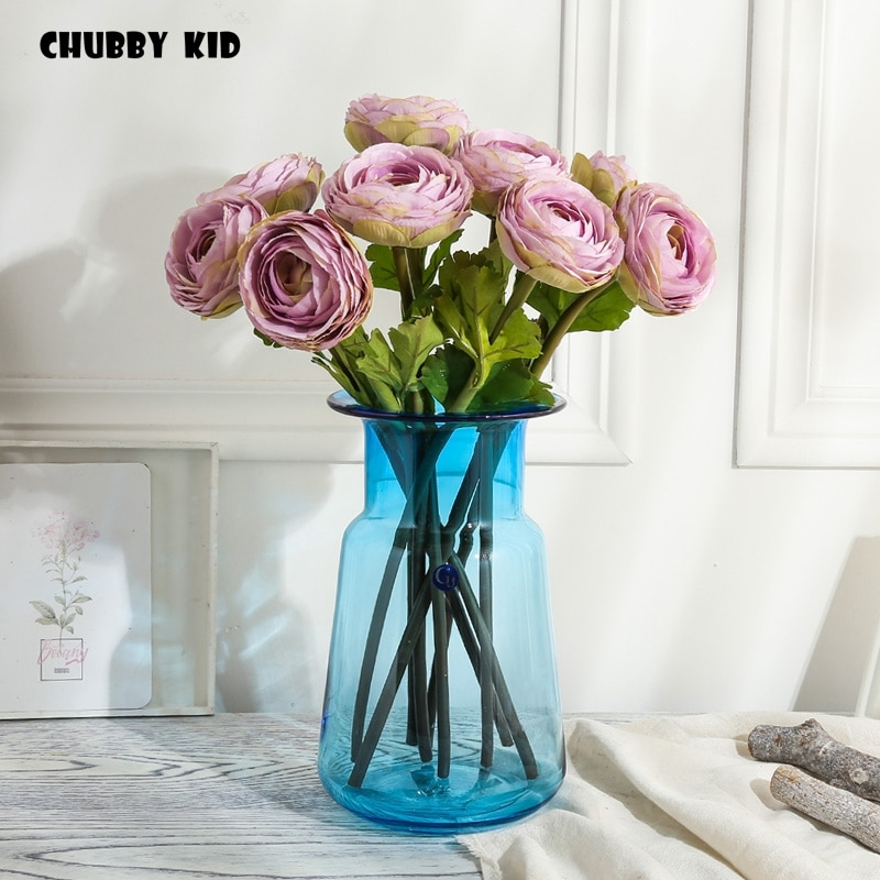 100% Hi-Q artificial Ranunculus asiaticus flor falsa persa Buttercup boda flores de loto de seda decorativa al por mayor 10 piezas