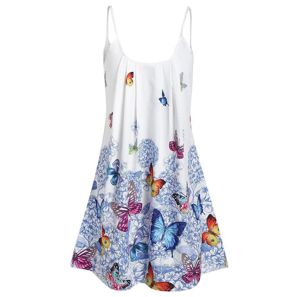 Senhora tamanho grande borboleta impressão solta cinta vestido verão simples lazer ao ar livre praia férias festa mini o-neck vestido plus size