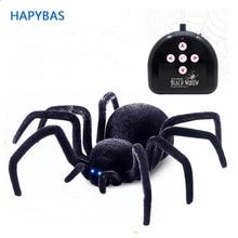 Électronique pour animaux de compagnie télécommande Simulation tarantule yeux briller intelligent noir araignée 4Ch Halloween RC délicate blague effrayant jouet cadeau