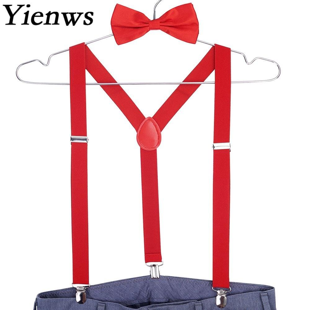 Yienws Red Bow Tie Suspenders for Men Suspensorio Women Mens Braces for Trousers Navy Erkek Jartiyer Szelki Do Spodni YiA001