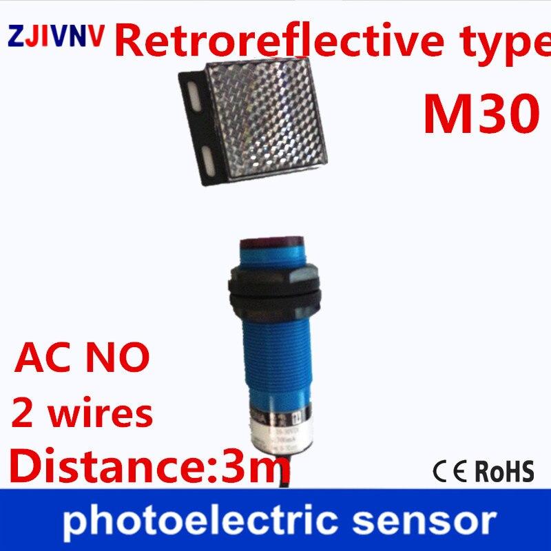 M30 Retroreflctive نوع AC90-250v لا 2 أسلاك كهروضوئية الاستشعار الأشعة تحت الحمراء الكهروضوئية التبديل مع مرآة عاكس لوحة