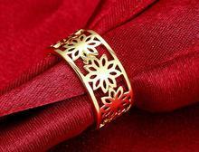 En gros belle jolie mode mignonne fête de mariage fleur jaune couleur or belle femmes cristal dame anneau bijoux R315