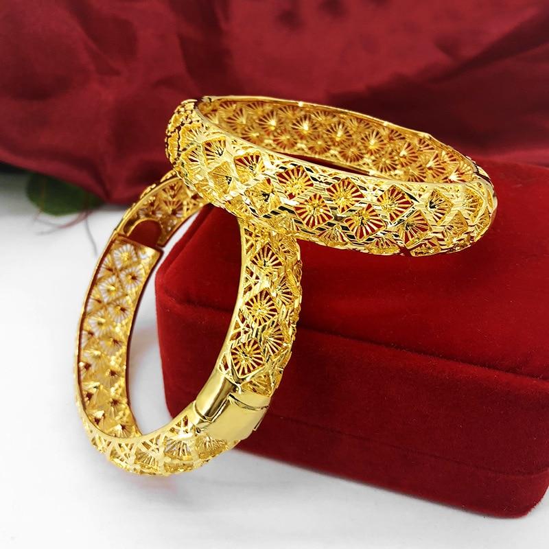 Rhombus Pattern Hollow Bangle Yellow Gold Filled Dubai Bracelet Ethiopia/Africa/India/Arab Bridal Wedding Jewelry