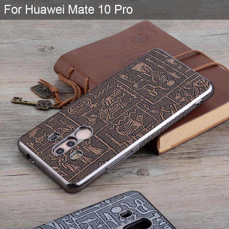 Funda Vintage 3D Egypt para Huawei Mate 10 Pro, material suave de TPU y fundas de piel sintética, fundas Mate 10 Pro
