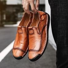 Hommes chaussures décontractées 2019 mode hommes chaussures en cuir hommes mocassins mocassins Slip On hommes chaussures plates hommes chaussures grande taille 38-48