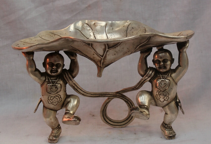 "Envío rápido USPS a EE. UU. S1891 10 ""China Fengshui plata Fu chico Hold Lotus Leaf Ashtray Bowl estatua"