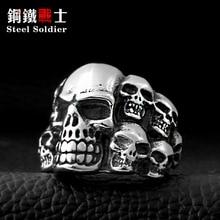 Steel soldier Punk Biker Men's Titanium Stainless Steel Ring Multi Rock lots Skull Ring For Men