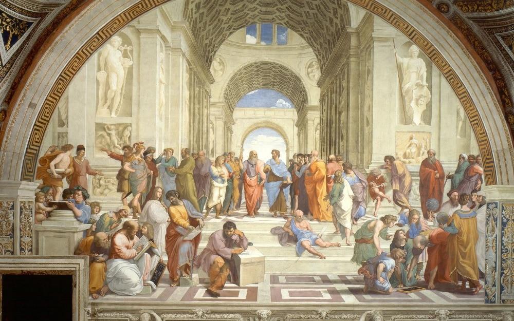 Pintura al óleo de figura grande para la decoración para las paredes del salón arte de la Escuela de Athens arte renacentista italiano de Raphael pintado a mano