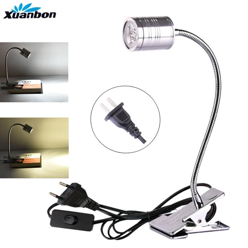 Lámpara LED para mesa de escritorio, enchufe de EE. UU. Con Clip, 3W, 5W, Flexible, luces LED de lectura, lámpara de libro, AC85-265V de ajuste de 360 grados