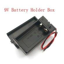 9V pil tutucu kutusu kasa tel kurşun ile ON/OFF anahtarı kapağı durumda