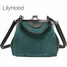 LilyHood rayé velours côtelé femmes Messenger sacs rétro Shell sac à main petit sac à bandoulière fourre-tout de haute qualité petit embrayage sacs à main