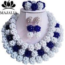 Fashion african jewelry set white Crystal nigerian wedding african beads jewelry set crystal Free shipping Majalia-288