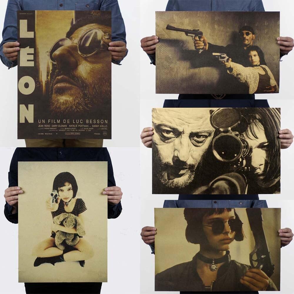 LAITANG-pegatinas de Pared de León, cartel de película Retro profesional, decoración de...