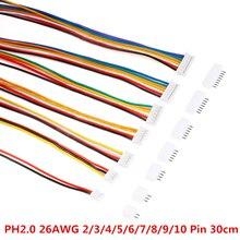 20 piezas = 10 juegos Micro Mini JST 2,0 PH conector macho hembra 2/3/4/5/6/7/8/9/10-Pin enchufe con cables enchufe para cables 300MM 26AWG nuevo