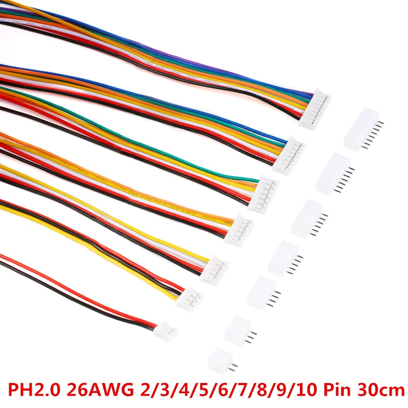 20PCS = 10Sets Micro Mini JST 2,0 PH Stecker Männlich Weiblich 2/3/4/5 /6/7/8/9/10-Pin Stecker Mit Drähte Kabel Buchse 300MM 26AWG neue