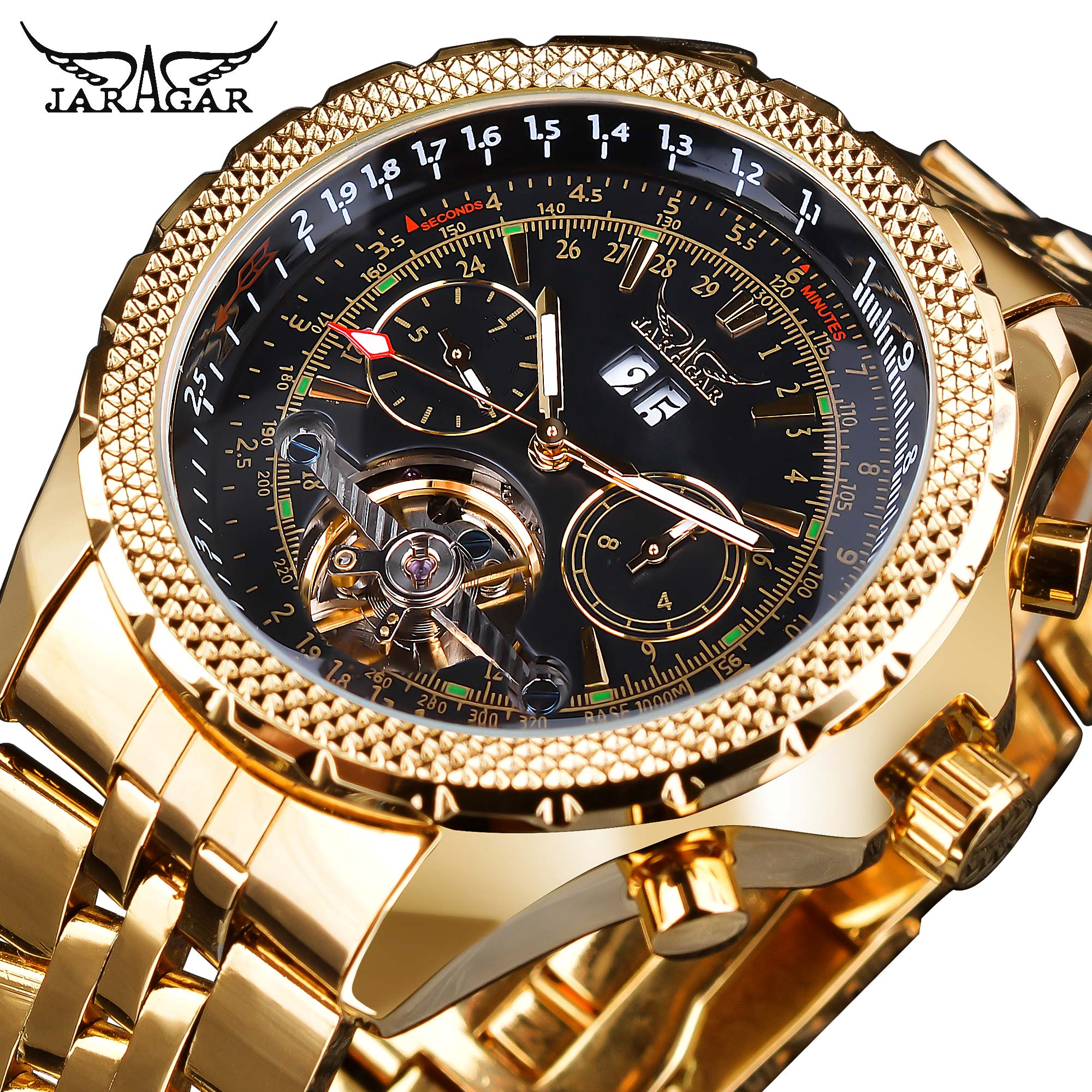 Jaragar Mens Watch Mechanical Golden Black Tourbillon Date Business Fashion Steel Band Sport Watches