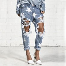 Zomer Boyfriend Jeans Vrouw Big Hole Jeans Voor Vrouwen Met Vijfpuntige Ster Ripped Jeans Lichtblauw Denim Broek