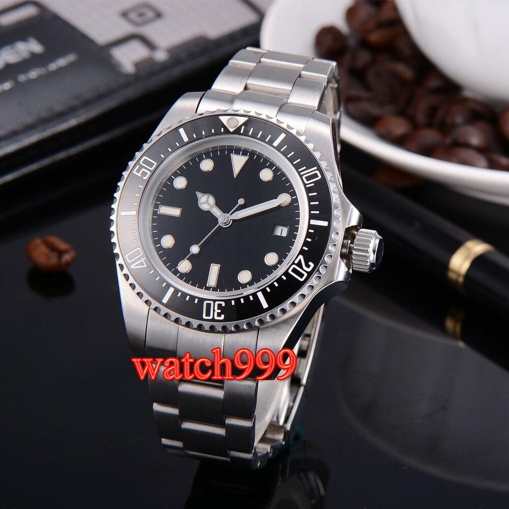 40mm Corgeut Verde Vidro De Safira GMT Black Dial relógios Dos Homens Automáticos Assistir Cinta de Aço À Prova D Água Relógio Mecânico