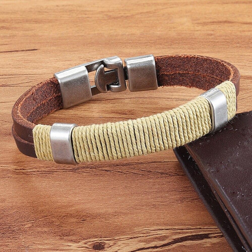 Xqni novo estilo étnico clássico preto/cor amarela para a escolha fácil gancho pulseira de couro do plutônio para homens trançado vários estilos presente