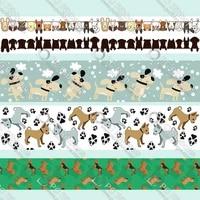 hound painting design printed grosgrain ribbon home decorationbelt gift packing wedding decoration 50 yards
