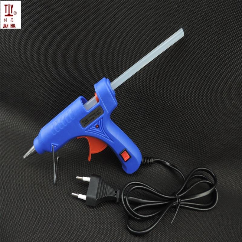 20W EU Plug Hot Melt Glue Gun with Free 1pc 7mm Glue Stick Industrial Mini Guns Thermo Electric Heat Temperature Tool