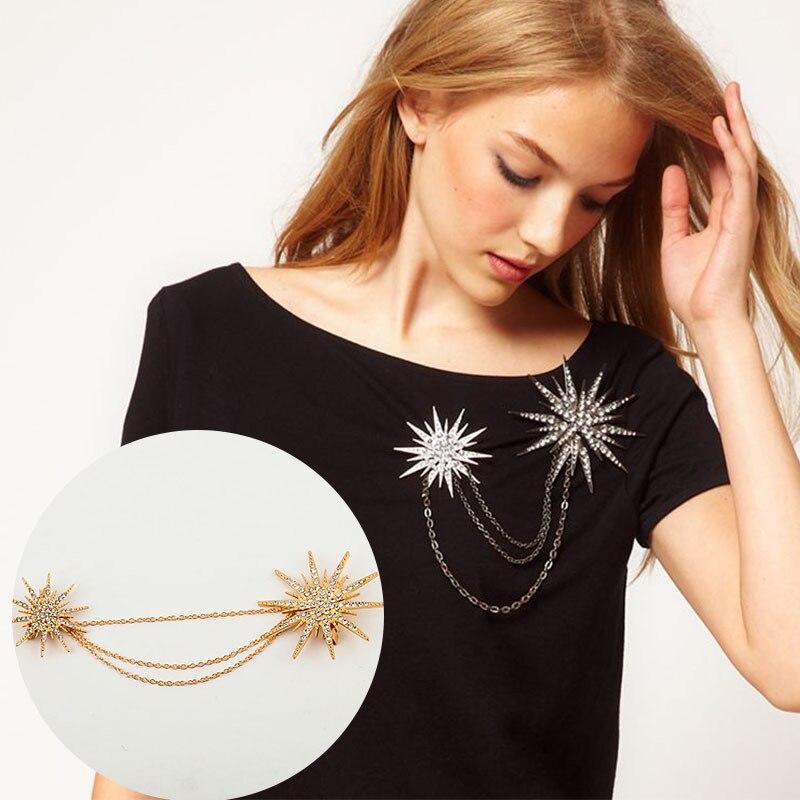 Broches de cristal de Doble Estrella, cadena de eslabones, broche de copo de nieve, broches chapados en oro, plata, negro, Joyería de diamantes de imitación para mujer y hombre para ropa
