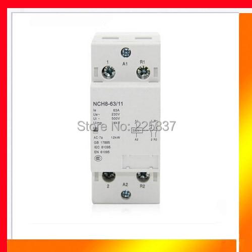 Envío gratis de alta calidad NCH8-63/11 AC 220 v 230 v 50/60Hz 63A 1-NO 1-NC 2 P 2-polo hogar mini carril DIN modular AC contactor