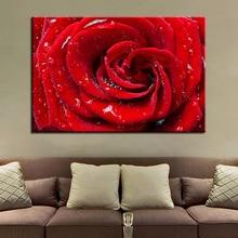 Toile de peinture moderne panneau Art 1   Décor de maison, magnifique Rose rouge imprimé HD, cadre daffiches modulaires, photos du salon