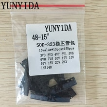 SOD-323 0805 0.25 W SMD Zener diode Assorted Kit 15 valores * 10 pcs = 150 pcs