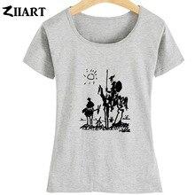 Pablo Picasso peinture Don quichotte de la manche le moulin à vent Couple vêtements fille femme été à manches courtes T-Shirts ZIIART