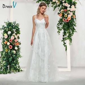 Dressv elegant ivory sleeveless a line appliques wedding dress floor length simple bridal gowns lace up wedding dresses