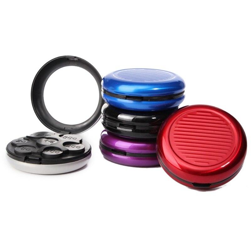 Moda alumínio & pp euro moedas bolsa caixa de armazenamento notecase com built-in espelho cosmético bonito multi-cores 1pcs