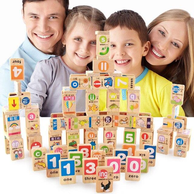 100 unids/set auténtico dominó de madera estándar inglés chino Pinyin Domino bloques juguetes educativos para niños