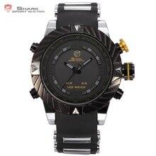 Merk SHARK Sporthorloges LED Display Alarm Zwarte Siliconen Band Relogio Masculino Tag Mannen Militaire Quartz Digitale Horloge/SH168