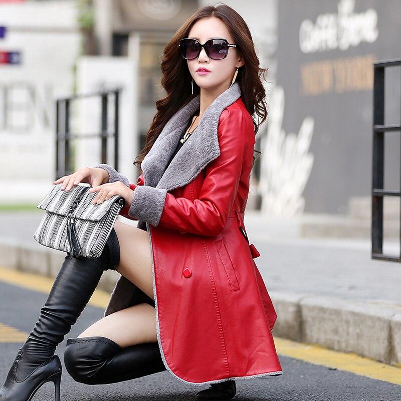 Europea de Cuero de las mujeres de piel chaqueta largo collar de...