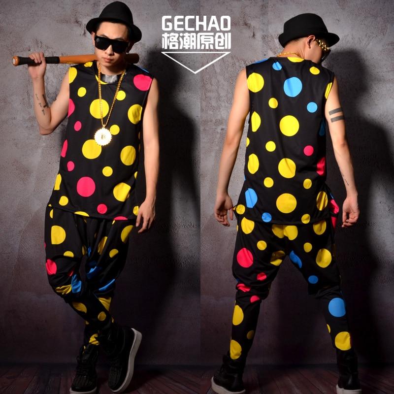 M-6XL/coloridos polka dots hip hop series chalecos holgados star nightclub bar cantante DJ realiza trajes.