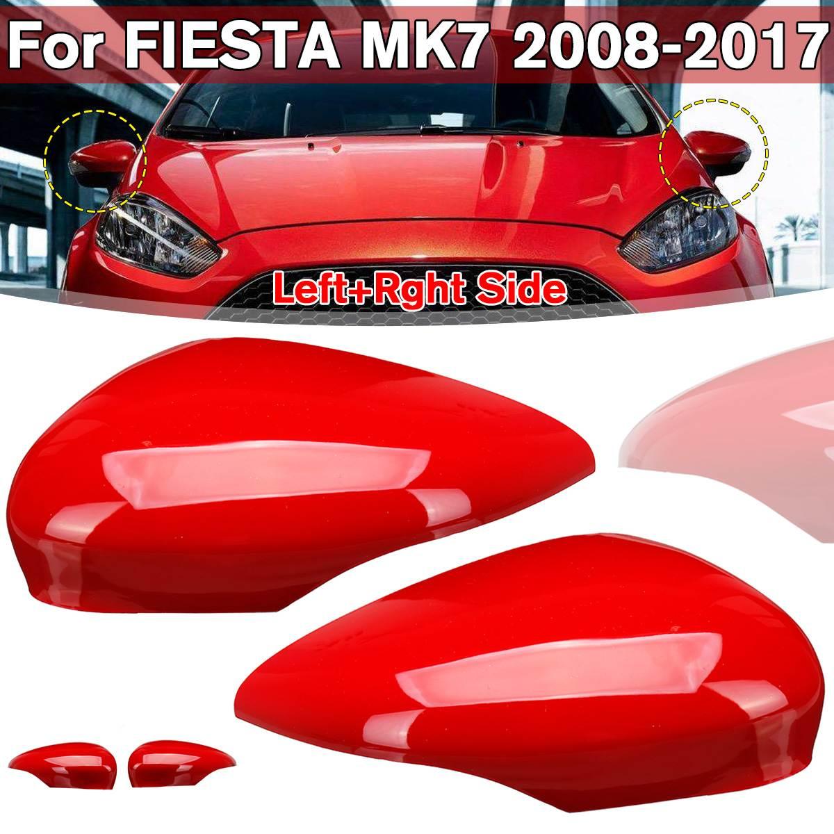 Espelho retrovisor do carro vermelho capa para fiesta mk7 2008-2017 esquerda/direita gloss asa porta exterior lateral espelho retrovisor capa