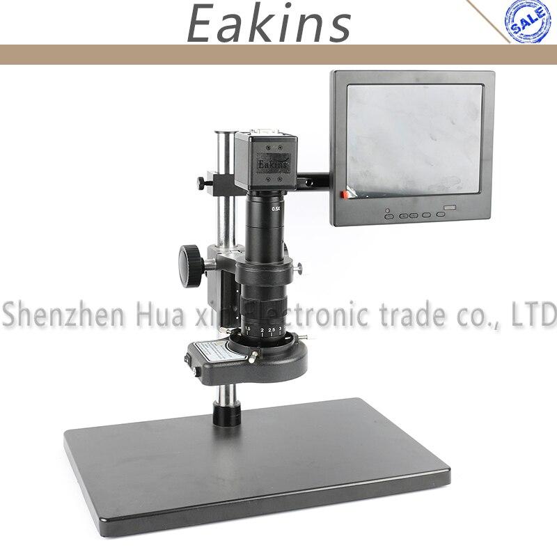 "2.0MP HD VGA USB cámara de video de microscopio para industria Lab VGA USB + 180X/300X lente de montaje en C + 144 Anillo de luz LED + soporte grande + 8 ""LCD"