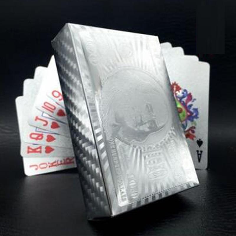 Hohe Qualität Silber Plastikkarte Silber Poker PVC Wasserdichte Plastikspielkarte Club Spiel Dollar Spielkarte Farbe Deck Geschenk