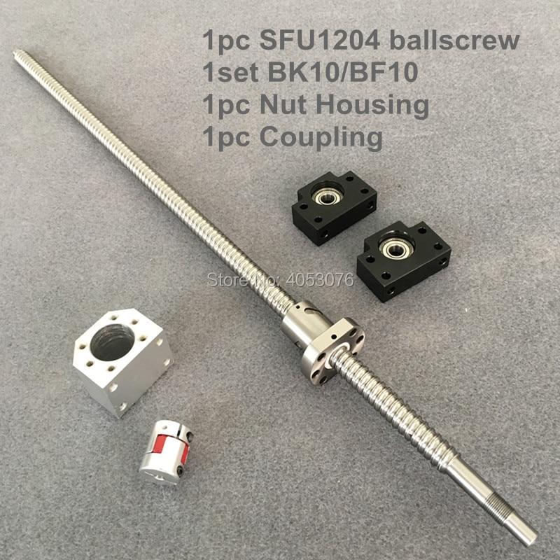 SFU/RM 1204 Ballscrew 1200-1500mm con extremo mecanizado + 1204 Ballnut + BK/BF10 soporte de extremo + carcasa de tuerca + acoplamiento para CNC