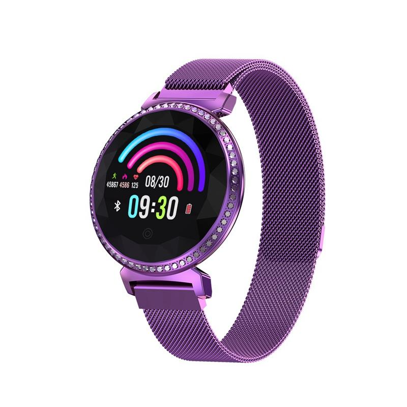 Pulsera inteligente para mujer con diamantes de imitación de lujo banda inteligente deportes reloj Bluetooth pantalla redonda de 1,04 pulgadas elegante pulsera inteligente Mc11-