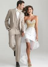 2017 Nieuwste Jas Broek Ontwerp Beige Tan Wedding Suits Slim Fit Skinny 3 Stuk Custom Blazer Mannen Pak Bruidegom Smoking terno Masculino