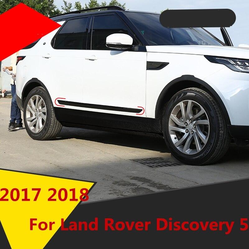 Accesorios puerta cromada ABS lado línea guarnición cuerpo moldura cubierta protector trim negro piano para Land Rover Discovery 5 2017 2018