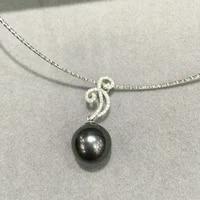 11 12mm natural black tahitian pearls pendant 18k gold diamond luxury jewelry free shipping fine jewelry