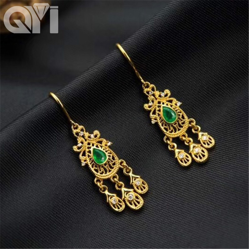 QYI Earrings Women 18K gold Yellow Diamond Jewelry Gold For Women Gift Box Wedding Natural stones Earrings