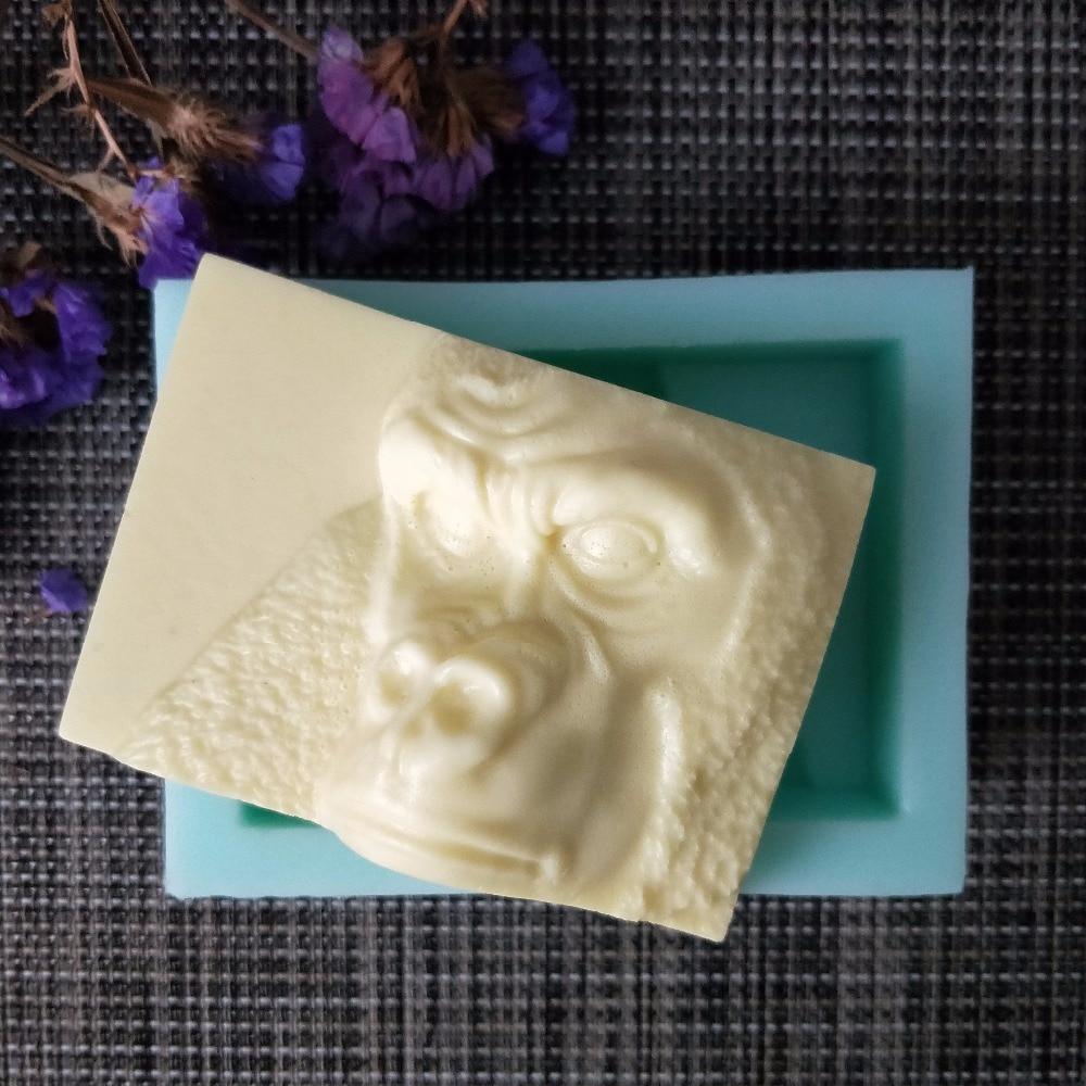 Molde de silicona de orangután de animales 3D molde de jabón hecho a mano moldes para hacer jabón vela de silicona molde de mono de resina molde de arcilla PRZY DW0118